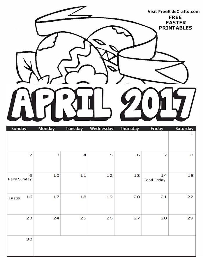 2017 April Coloring Calendar
