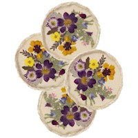 Coasters with Pressed Flowers