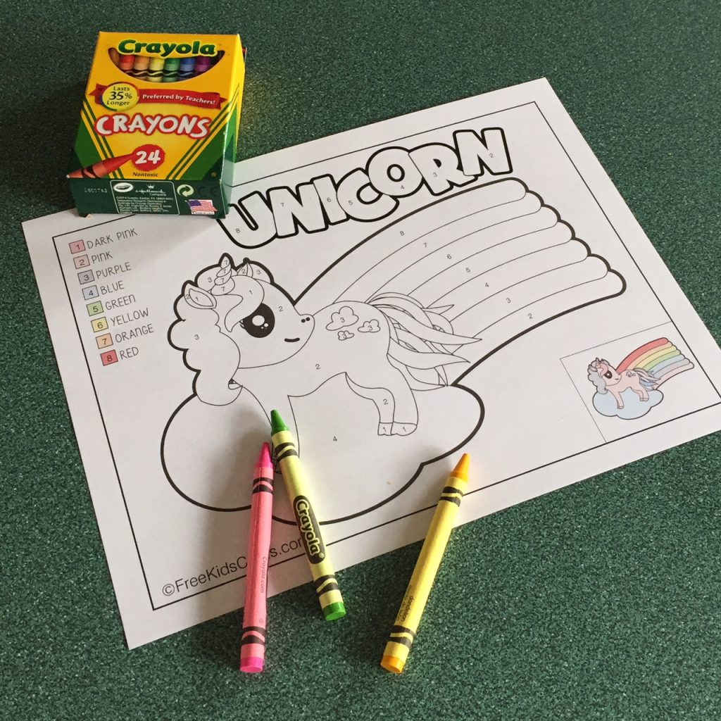 Color by number unicorn printable for pre-school and kindergarten children