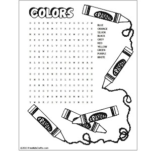 printable colors word search