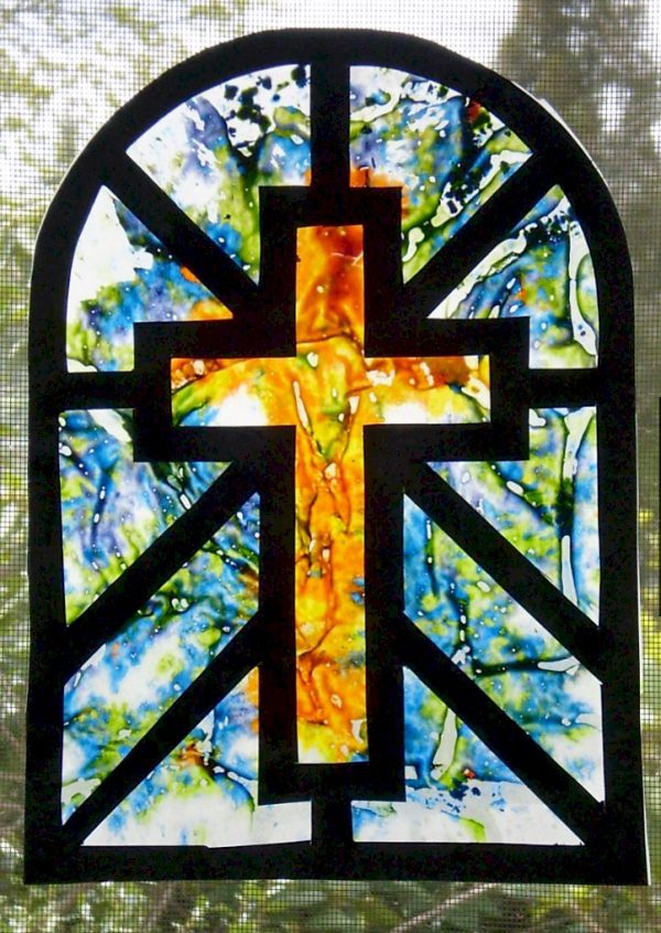 Image of Melted Crayon Stained Glass Cross Sun Catcher