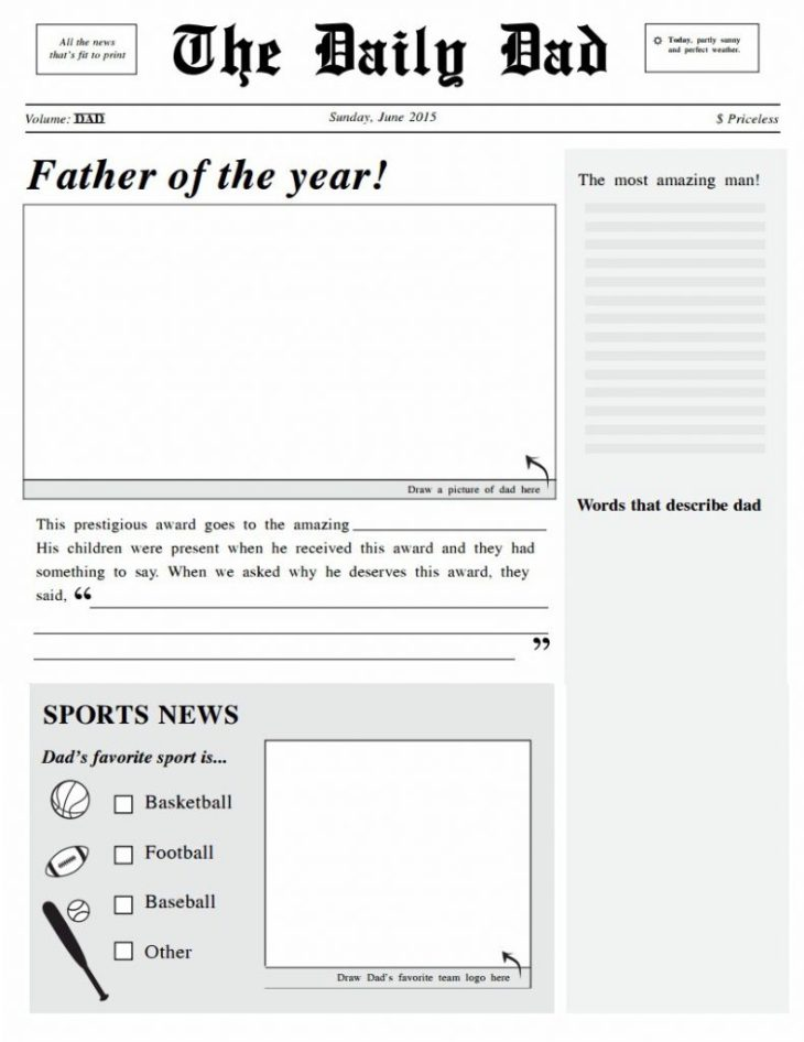 Headliner Dad Newspaper