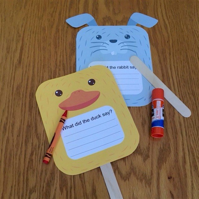 Duck and Rabbit Puppets For Beginning Writers