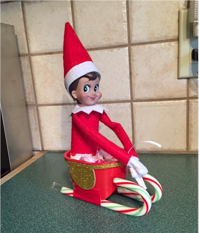 Image of Make A Candy Cane Sleigh For Your Elf On The Shelf