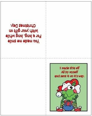 Image of Printable Elf Thank You Card