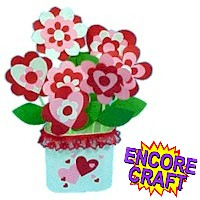 Printable Paper Hearts and Flowers Bouquet