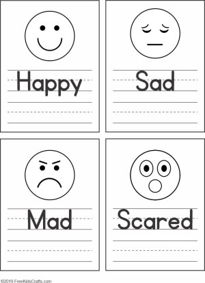Image of Feelings Faces Worksheet for Preschoolers