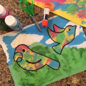 Colorful birds made from recycled finger paint project