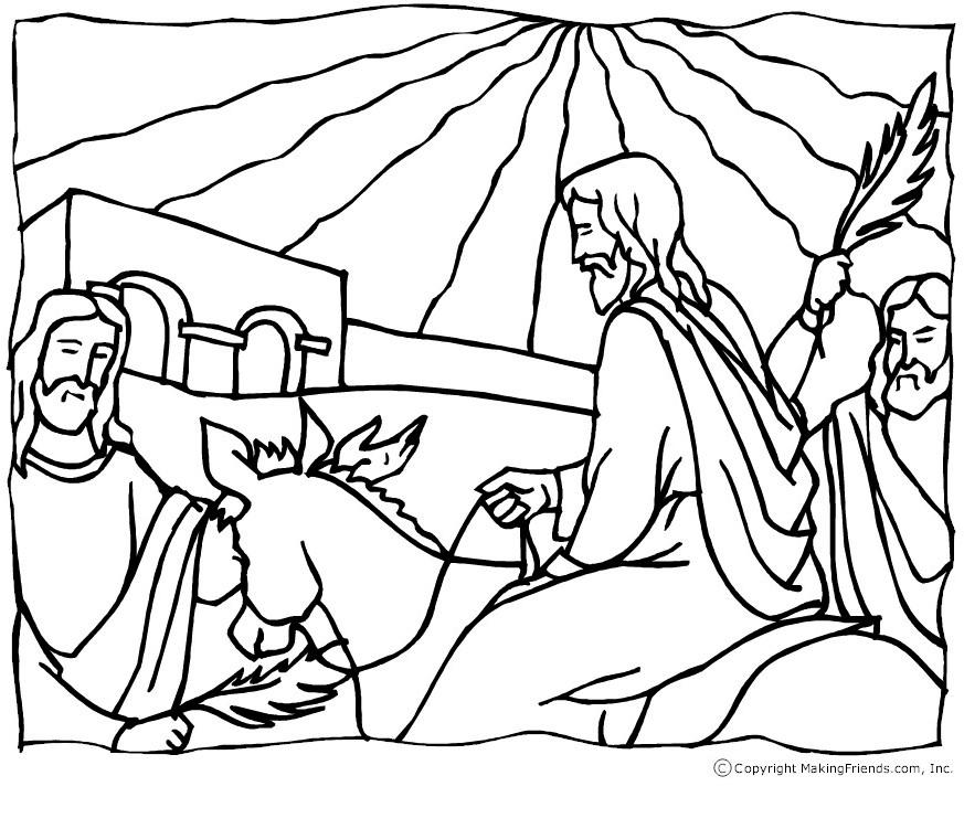 Image of Jesus Palm Sunday Coloring Page