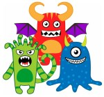 Colorful Monsters for kids to cut and paste.