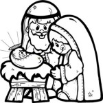 Coloring page with Mary, Joseph and Jesus