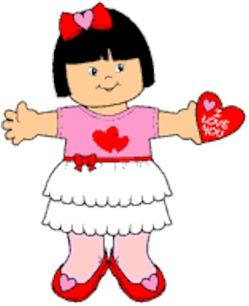 Paper Doll in Valentine Dress