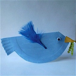 Bluebird made from folded paper plate