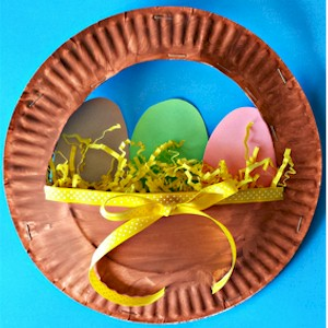 Image of Easter Eggs In A Paper Plate Basket