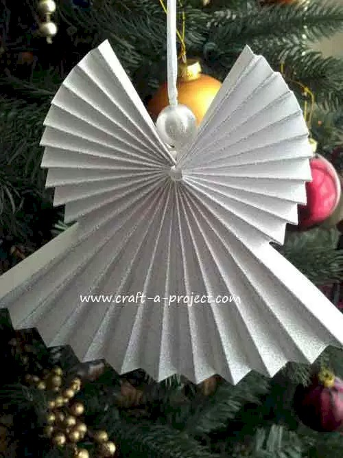 Folded paper angel Christmas ornament
