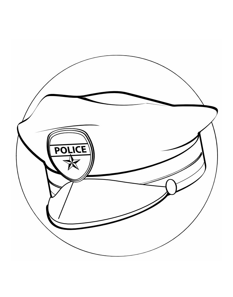 Image of Police Hat Coloring Page For Labor Day