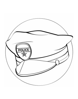 Police Hat Coloring Page For Labor Day