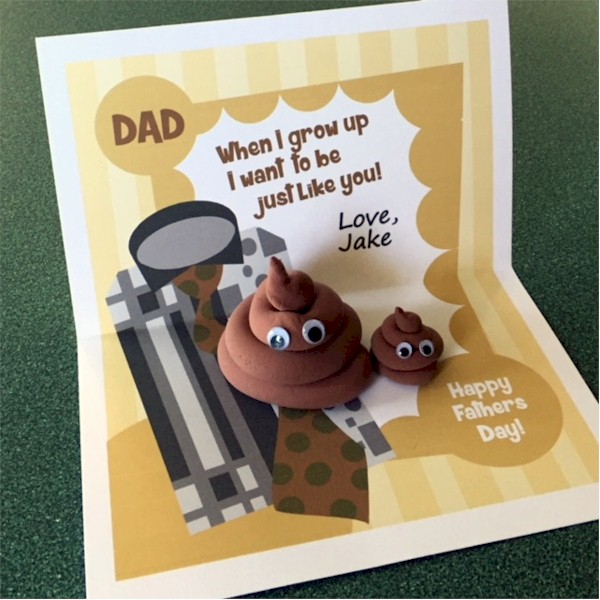 Image of Printable Fathers Day Emoji Poop Card