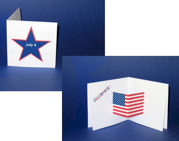 Image of Printable Pop Up July 4th Card