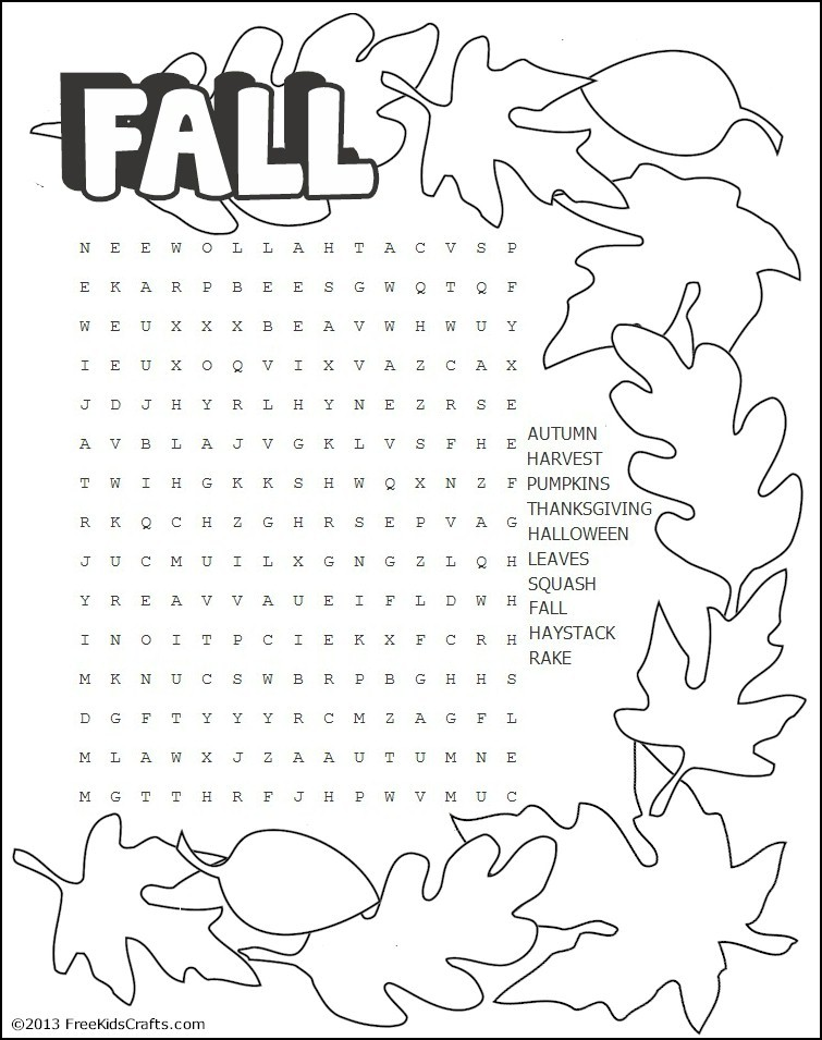 Candid image within fall word searches printable