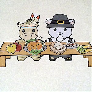 Buddies Paper Doll Thanksgiving Table