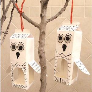 Recycled Milk Carton Owl Bird Feeder