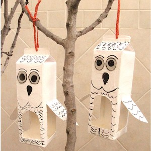 Recycled milk cartons turned into Owl Bird Feeders