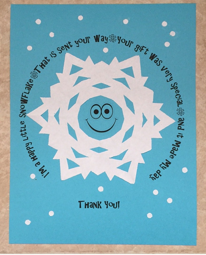 Printable Snowflake Thank You Note