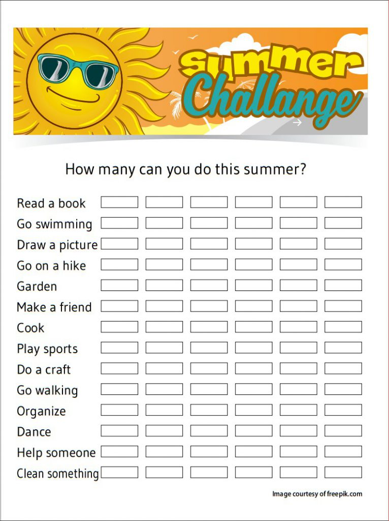 printable summer challange