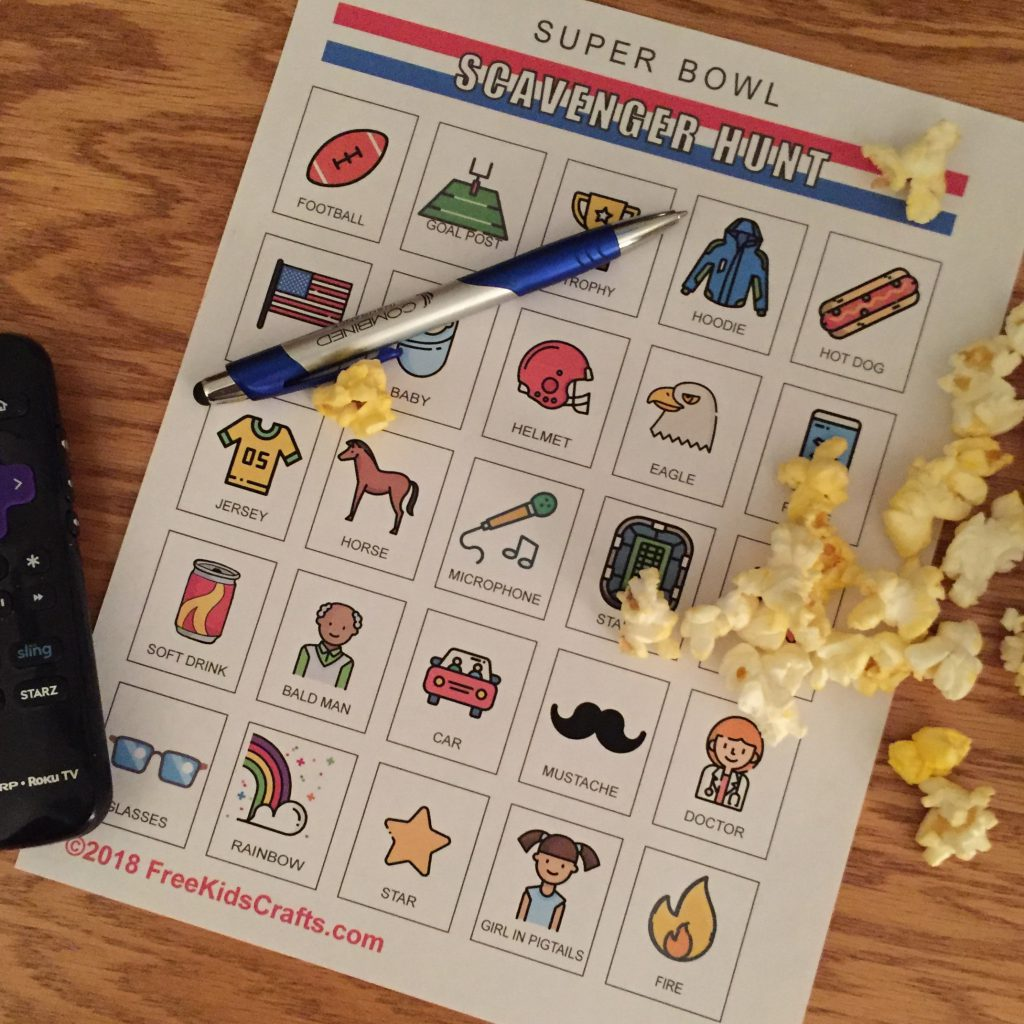 Printable Super Bowl Scavenger Hunt for kids