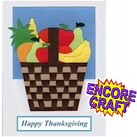 Image of Thanksgiving Woven Paper Fruit Basket Card