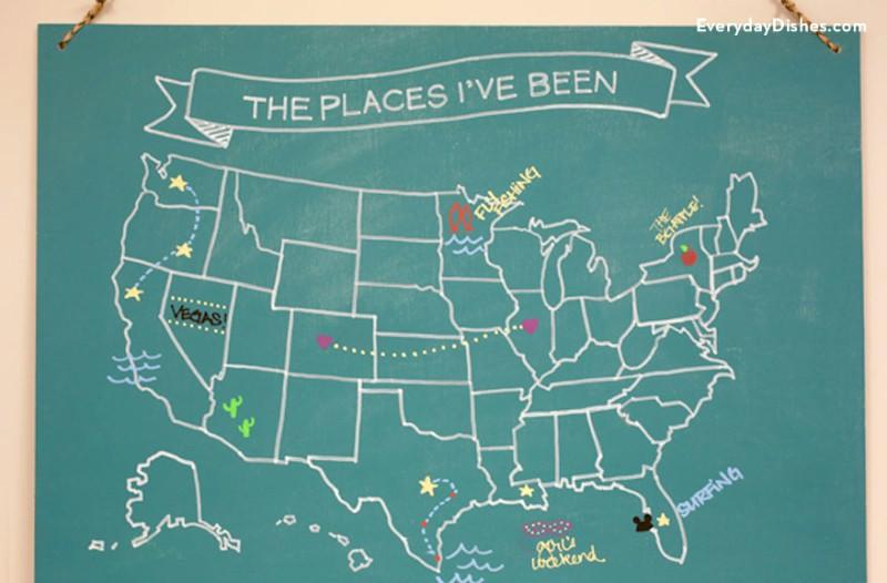 Usa Chalkboard Map