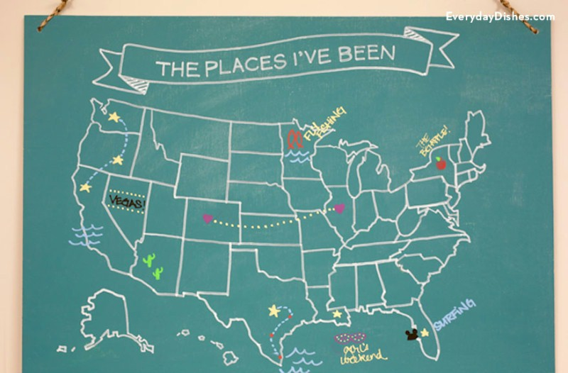 Image of USA Chalkboard Map