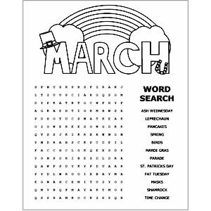 Image of Printable March Word Search