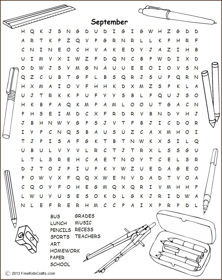 Image of Printable September Word Search