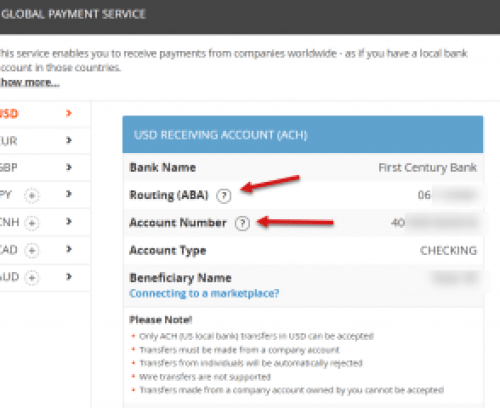 Payoneer Global Payment Service & Routing Numbers