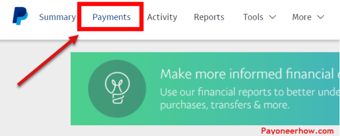 Go to Payments on PayPal