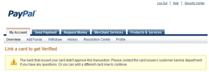 Error while verifying Card
