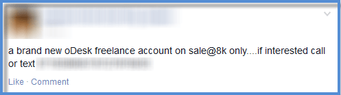 odesk account on sale