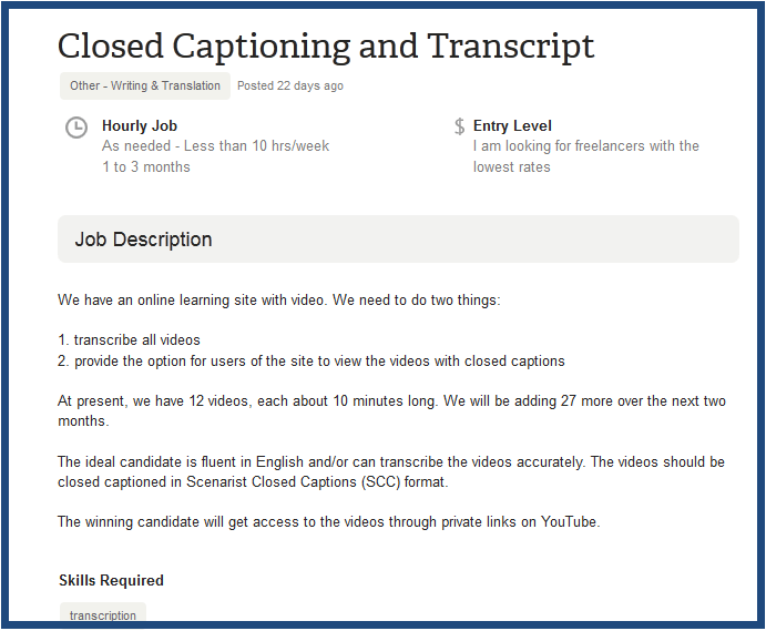 Captioning and Transcription
