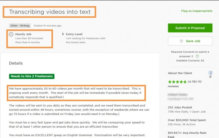 Transcribing video into text long term contract
