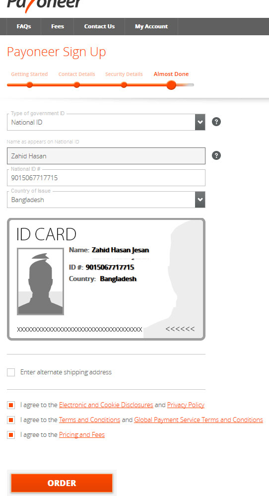 Payoneer sign up form almost done