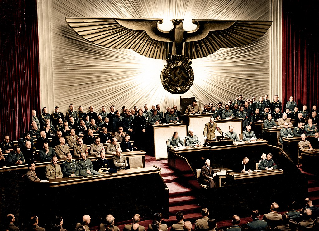 Adolf Hitler delivers a speech at the Kroll Opera House, German Federal Archives