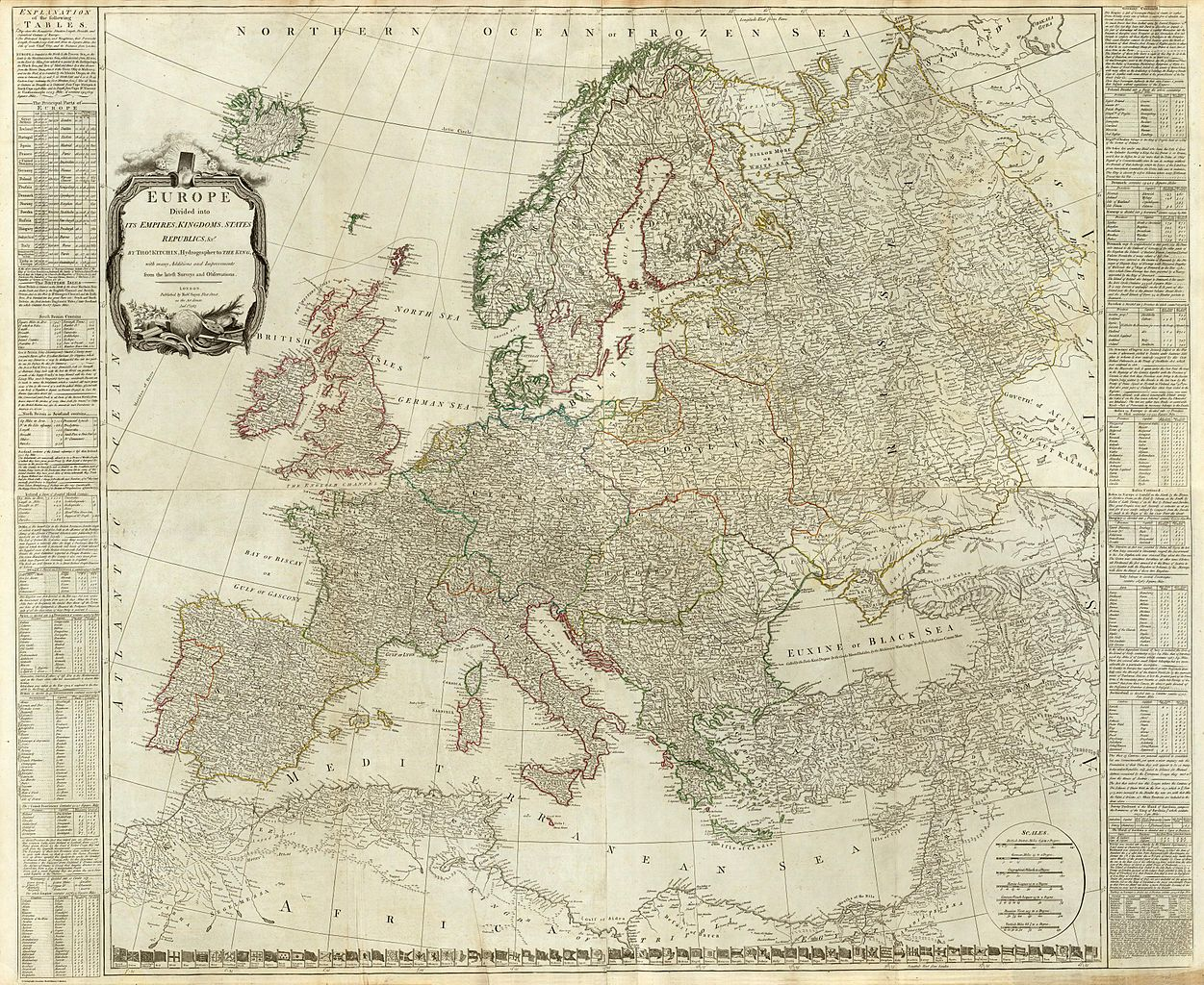 Composite of Europe divided into its empires, kingdoms, states, republics, by Thomas Kitchin