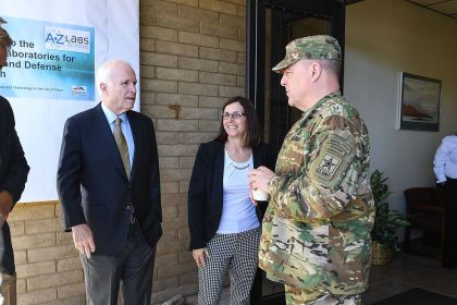 U.S. Army Chief of Staff Gen. Mark A. Milley meets with Senator John McCain during a visit to the Arizona Cyber Warfare Range, Mesa, Ariz., Sgt. Jamill Ford, U.S. Army