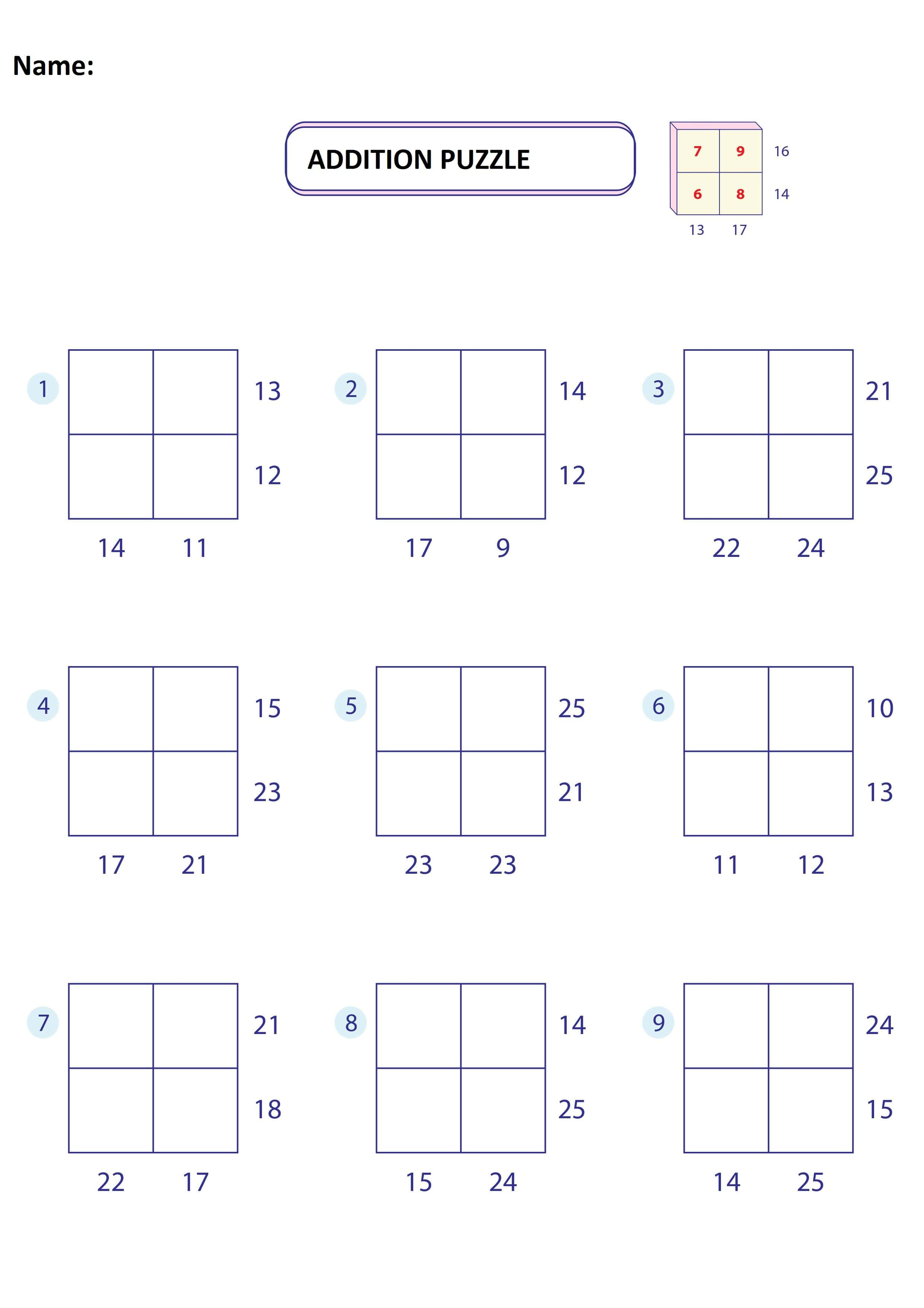 Addition Puzzle Worksheet 1