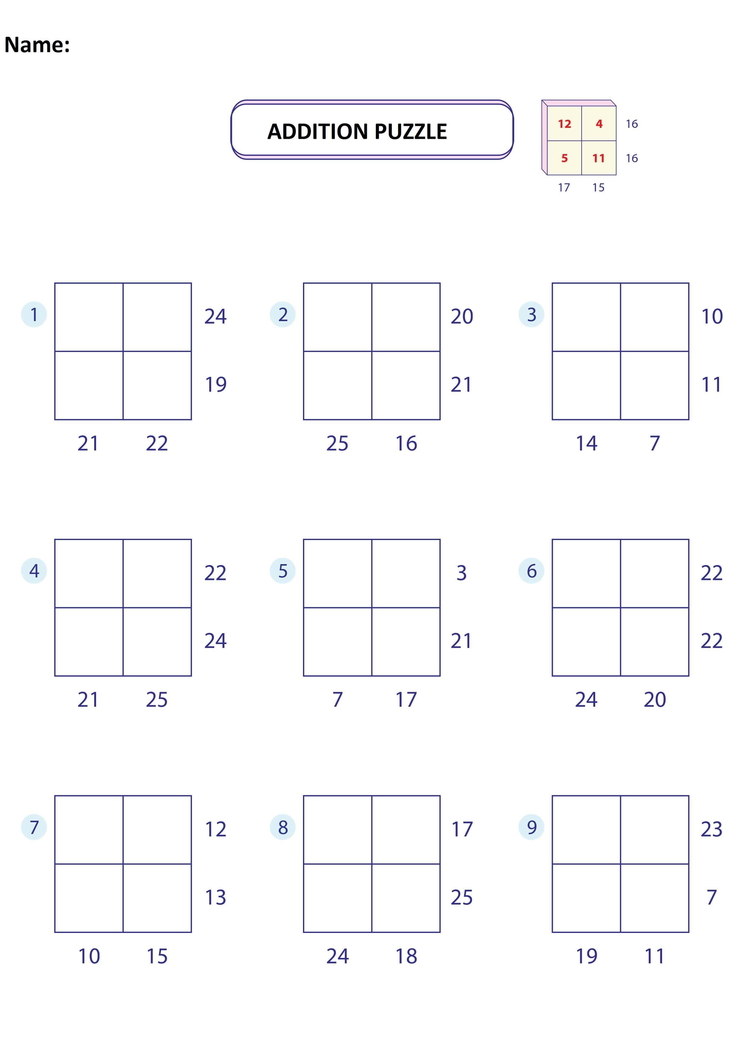 Addition Puzzle Worksheet 3
