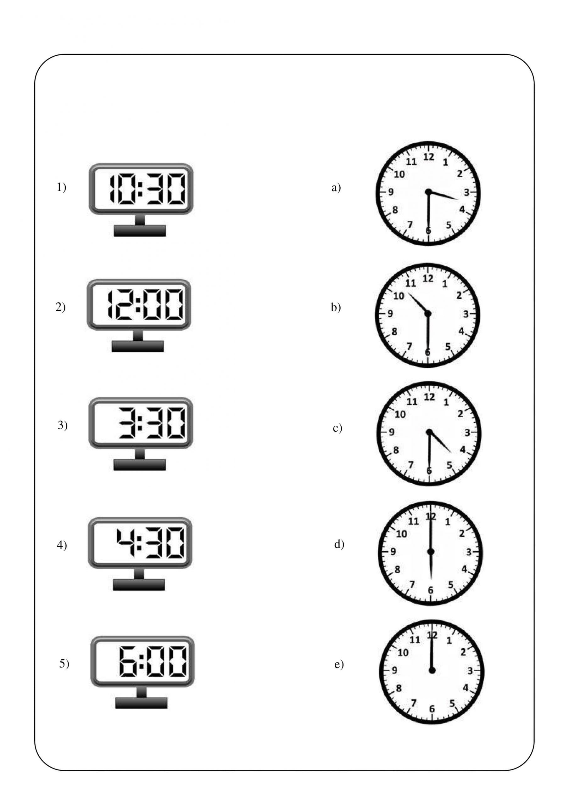 Clock Matching Worksheet 5