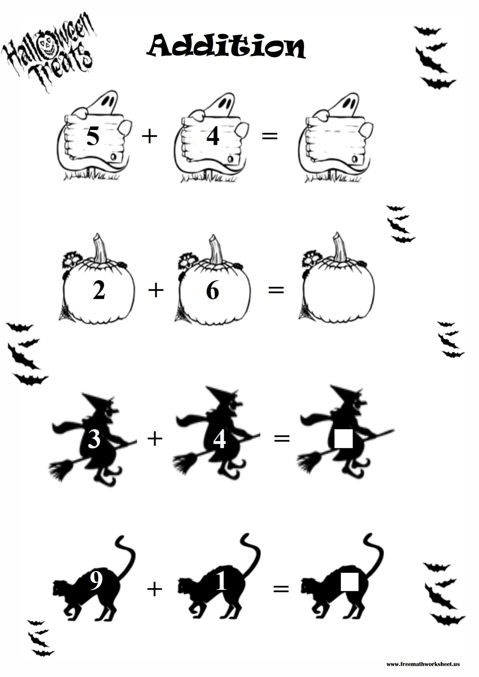 Halloween Addition Worksheet 1