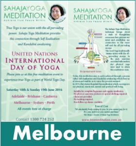 Melbourne Meditation World Yoga Day